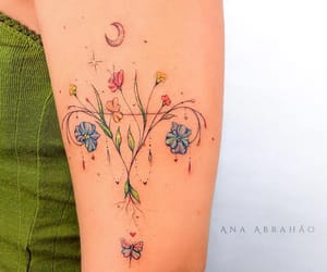 body art, flowers, and inked image