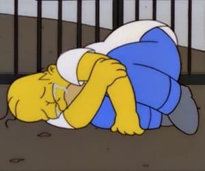 homer, sad, and simpsons image