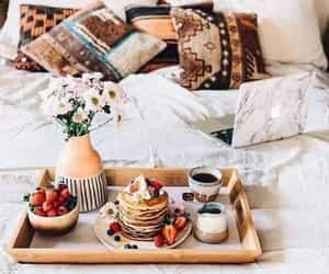 bed, bedroom, and breakfast image