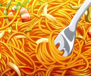 gif, spaghetti, and anime food image