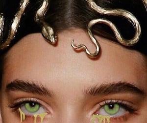 snake, eyes, and gold image