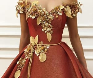 dress, gold, and beautiful image