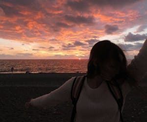 beach, girls, and sunset image