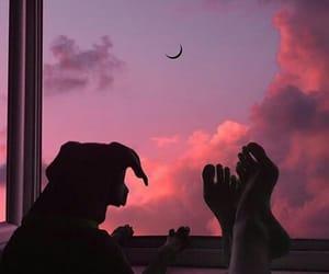 dog, sky, and sunset image