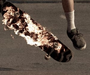 fire, grunge, and skate image