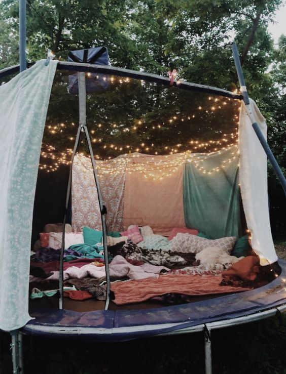 trampoline, light, and cozy image