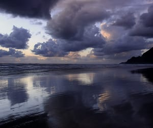 clouds, reflection, and sea image