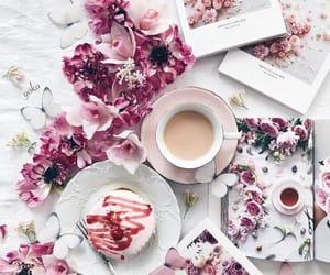 coffee, dessert, and flowers image