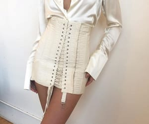 silk blouse, outfit goals, and corset skirt image