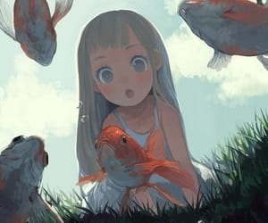 anime, art, and fish image