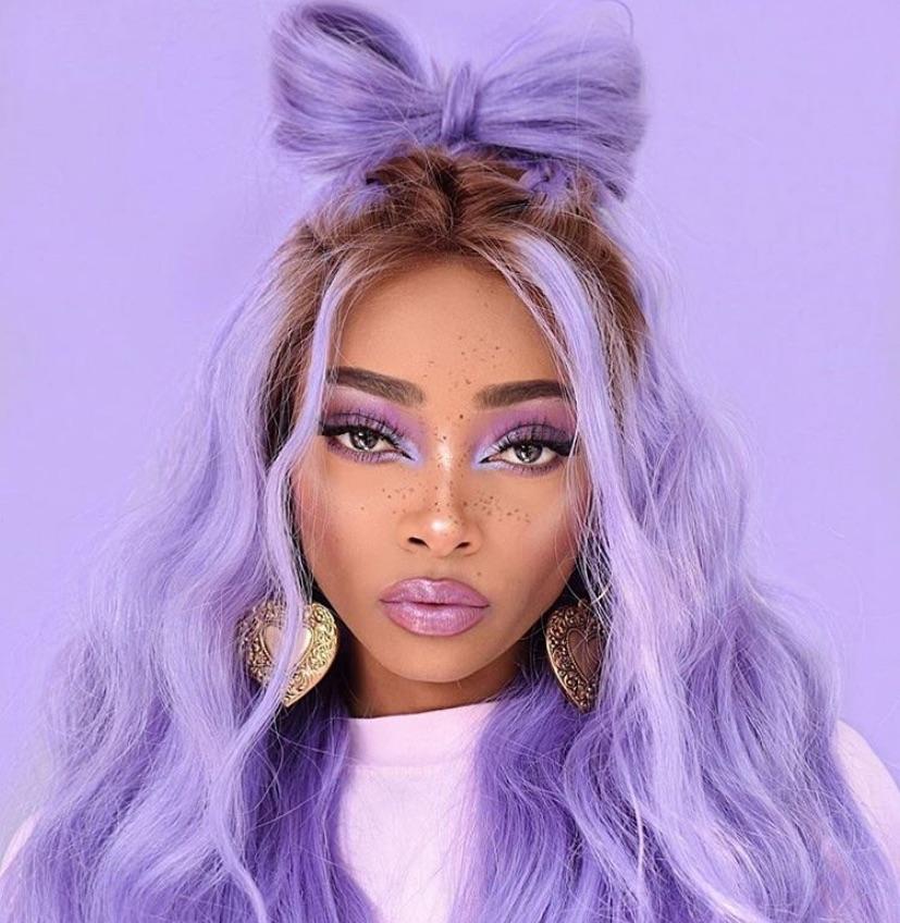 girl, purple, and makeup image