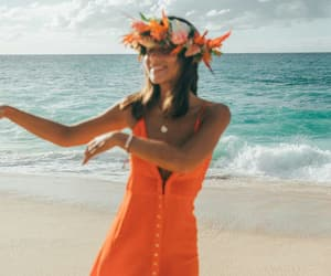 beach, dress, and flowers image