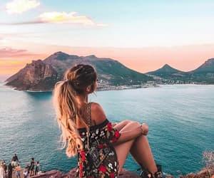 city, girl, and sea image