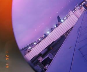 airplane, purple, and travel image