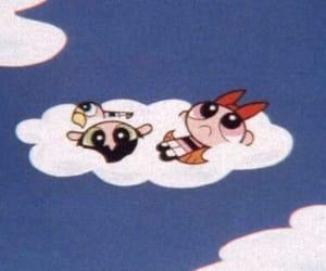 cartoon, powerpuff girls, and clouds image