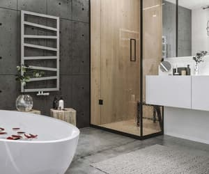 bathroom, shower, and bathtub image
