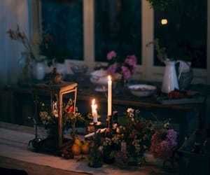 candle, night, and dinner image