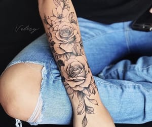 flower, flowers, and ink image
