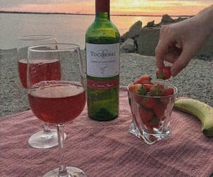 wine, strawberry, and beach image