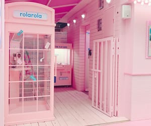aesthetic, baby pink, and phone booth image