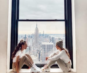 buildings, friendships, and new york city image