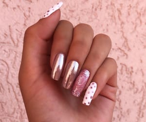 chrome, glitter, and long nails image