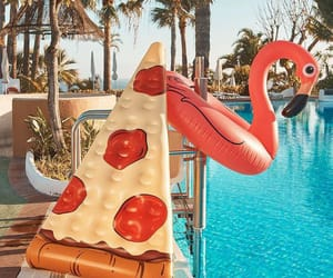 summer, pizza, and pool image