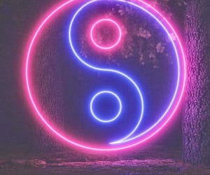 yin yang sign and blue pink neon sign image