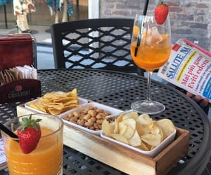 alcohol, chips, and drink image