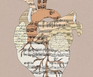 music, heart, and art image
