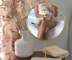 girl, mirror, and cat image