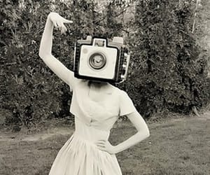 camera, black and white, and girl image