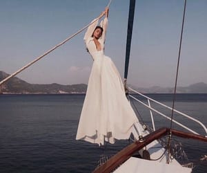dress, boat, and ocean image