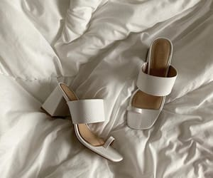white leather and chunky heel image