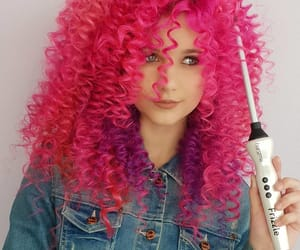 curls, curly hair, and pink hair image
