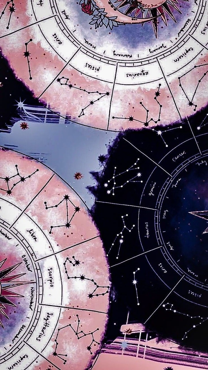Pink And Black Zodiac Sign Wallpaper Yw