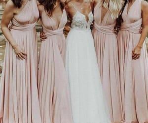 bride, wedding, and bridesmaid dress image