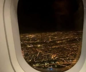 airplane, city lights, and france image