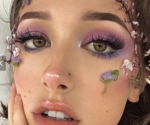 flowers, makeup, and purple image