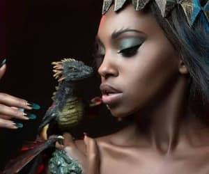 black, dragon, and girl image