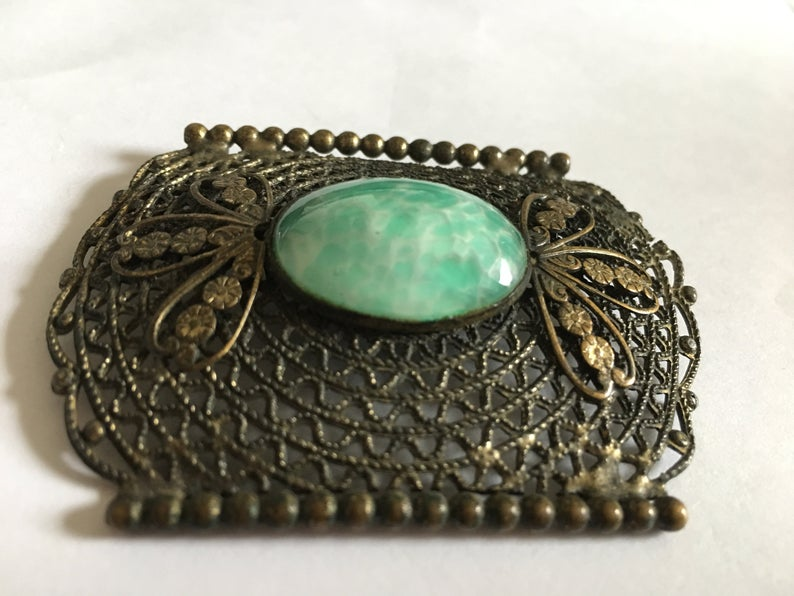 Art Nouveau, vintage jewelry, and green and white image