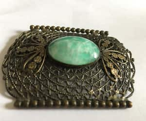 green and white, estate jewelry, and pressed brass image