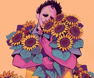 flowers, horror illustration, and yellow aesthetic image