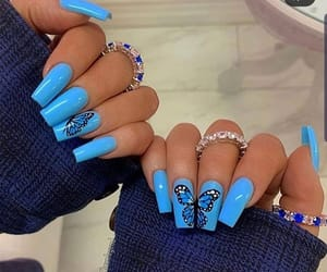 blue nails, butterfly, and nails image