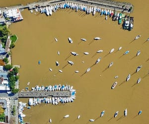 aerial photography, aerial view, and boats image