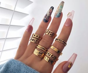 nails, accessories, and gold image