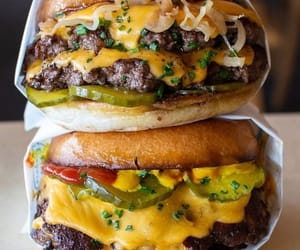 food, burger, and cheeseburger image