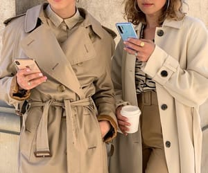 coffee, fashion, and trench coat image