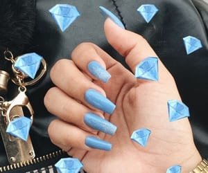 blue, diamonds, and girl image
