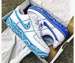 air force 1, bandanna, and blue image